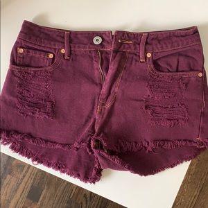 Bullhead Maroon Denim Shorts